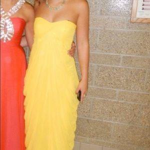 Yellow Long Ruffled Evening Dress